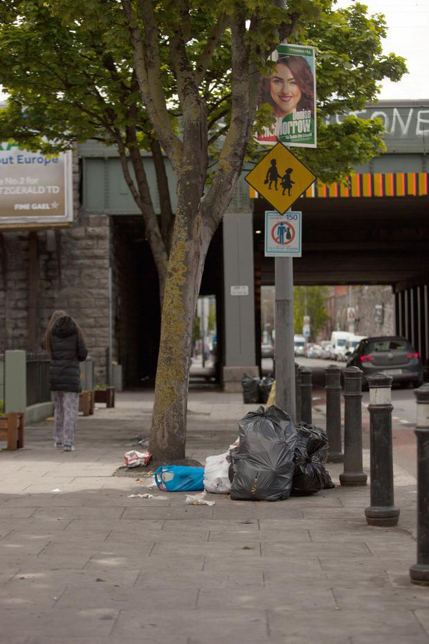 Problem: Domestic waste left on the street in Dublin city