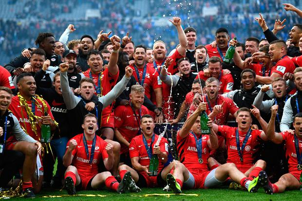 Champions Saracens celebrate with the trophy after the Champions Cup Final. Photo: Getty