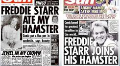 CONTROVERSIAL: 'The Sun's' famous front page (left) and the follow-up last week announcing comedian Freddie Starr's death