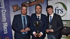 2019 Macra Mr Personality John Martin Carroll of Kerry Macra (centre) with runners up, Conor Ryan (North Tipperary Macra) and Ciaran O Donnell (Roscommon Macra) at the recent competition in the Springhill Court, Kilkenny.