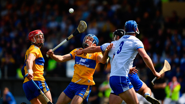 12 May 2019; Shane ODonnell of Clare, supported by John Conlon, in action against Noel Connors and Conor Prunt, 3, of Waterford during the Munster GAA Hurling Senior Championship Round 1 match between Waterford and Clare at Walsh Park in Waterford. Photo by Ray McManus/Sportsfile