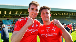 Conor Early and Declan Byrne of Louth celebrate after the Leinster GAA Football Senior Championship Round 1 match between Wexford and Louth at Innovate Wexford Park in Wexford. Photo by Matt Browne/Sportsfile