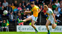 Bryan McMahon of Meath in action against Niall Darby of Offaly during the Leinster GAA Football Senior Championship Round 1 match between Meath and Offaly at Páirc Tailteann, Navan in Meath. Photo by Brendan Moran/Sportsfile