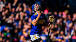 John McGrath of Tipperary celebrates after scoring his side's second goal during the Munster GAA Hurling Senior Championship Round 1 match between Cork and Tipperary at Pairc Ui Chaoimh in Cork. Photo by David Fitzgerald/Sportsfile
