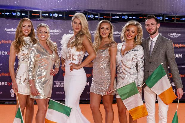 Irish Eurovision hopeful Sarah McTernan and 'Team Ireland' pictured on the Orange Carpet for the opening ceremony of the 2019 Eurovision Song Contest in Tel Aviv, Israel. Photo: Andres Poveda