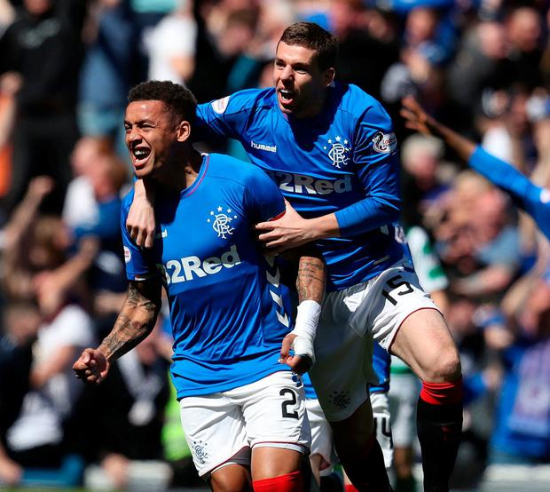 Rangers James Tavernier celebrates scoring his side's first goal. Photo: Andrew Milligan/PA Wire