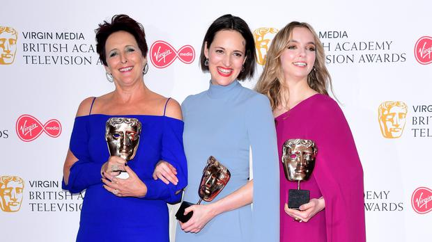 Fiona Shaw, Phoebe Waller-Bridge and Jodie Comer in the press room (Ian West/PA)