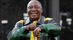 Promise: President Cyril Ramaphosa addresses supporters. Photo: Reuters/Mike Hutchings