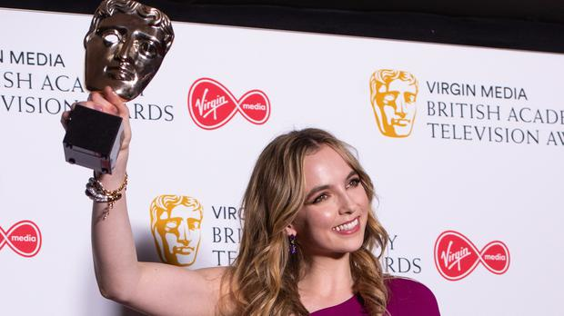 Jodie Comer in the press room with her Bafta (Matt Crossick/PA)