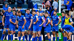 11 May 2019; Leinster players look on during the presentation after the Heineken Champions Cup Final match between Leinster and Saracens at St James' Park in Newcastle Upon Tyne, England. Photo by Brendan Moran/Sportsfile