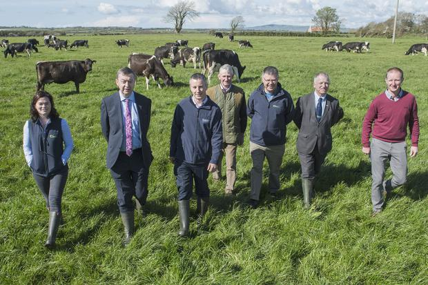 Pictured at the Kerry Agribusiness/Teagasc joint programme 25th Anniversary celebration in Awbeg, Lixnaw are Nora O'Donovan, Teagasc Adviser, Pat Murphy, Kerry Agribusiness, Sean McCarthy, Kerry Agribusiness, host Eddie McCarthy, Ger Courtney, Programme Co-ordinator, Professor Gerry Boyle, Director Teagasc & host Padraig McCarthy. Photo O'Gorman Photography.