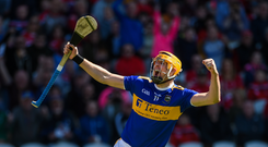 Séamus Callanan of Tipperary celebrates after scoring his side's first goal during the Munster GAA Hurling Senior Championship Round 1 match between Cork and Tipperary at Pairc Ui Chaoimh in Cork. Photo by Diarmuid Greene/Sportsfile