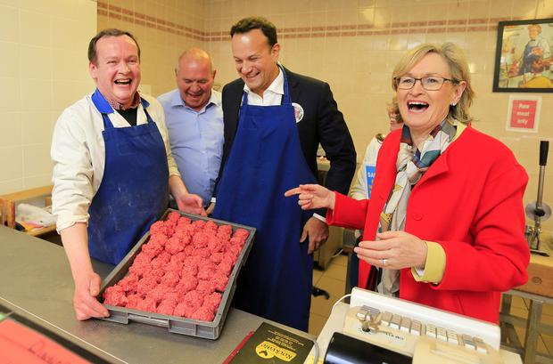 Butcher Tony Grey with local Fine Gael candidate Peter Farrelly, Taoiseach Leo Varadkar and MEP Mairead McGuinness in Kells. Photo: Gerry Mooney