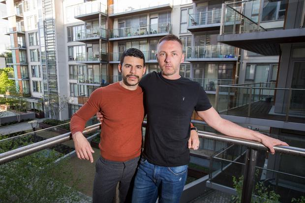 'Politicians are out of touch': Joel and Gordon at their rented home in Islandbridge, Dublin 8. Photo: Mark Condren