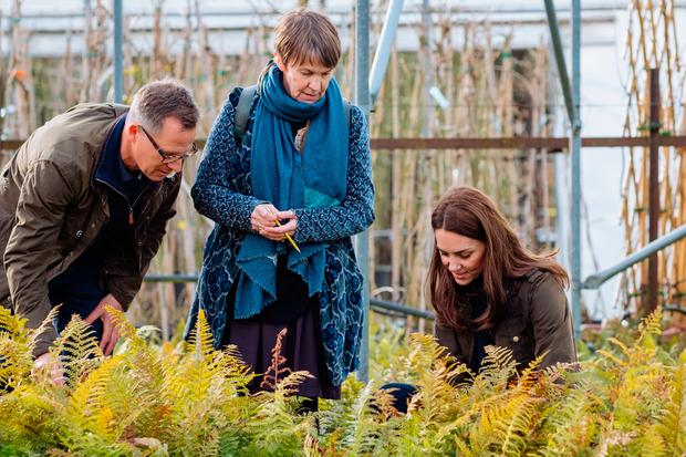 Kensington Palace handout photo dated February 2019 of the Duchess of Cambridge with Andree Davies (centre) and Adam White (left), of Davies White Landscape Architect, discussing plans for her