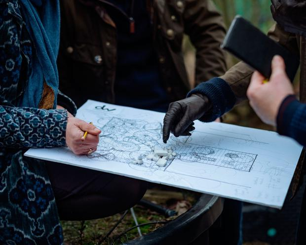 Kensington Palace handout photo dated February 2019 of a close up of garden plans as the Duchess of Cambridge, Andree Davies and Adam White, discuss ideas for her
