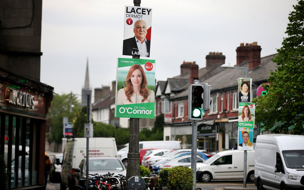 Colourful: Election posters adorn lampposts in Ranelagh in April. Photo: Steve Humphreys