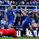 Jordan Larmour of Leinster is tackled by Mako Vunipola of Saracens