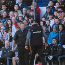 Dublin selector Greg Kennedy and Kilkenny manager Brian Cody exchange views