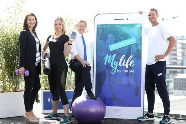 Dr Sarah Kelly, Kathryn Thomas, Professor Niall Moyna and Thomas Barr at the launch of the My Life app Photo: Julien Behal