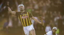 TJ Reid of Kilkenny celebrates after scoring his side's first goal during Leinster GAA Hurling Senior Championship Round 1 match between Kilkenny and Dublin at Nowlan Park in Kilkenny. Photo by Stephen McCarthy/Sportsfile