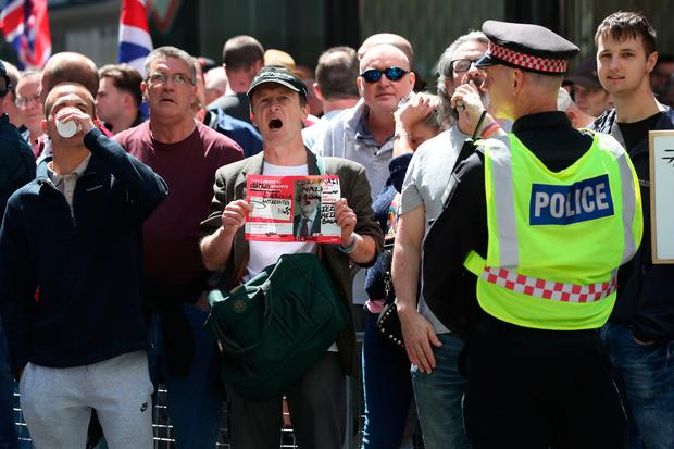 Supporters of Tommy Robinson gather outside the Old Bailey in London Photo credit: Jonathan Brady/PA Wire
