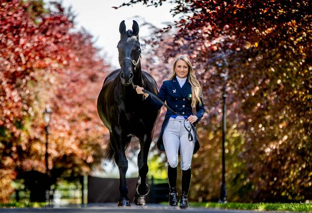 Gearing up: Irish Olympic eventer Camilla Speirs and 'Sooty' at the launch of the Tattersalls International Event and Country Fair. Photo: INPHO/Morgan Treacy
