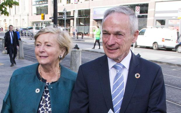 Frances Fitzgerald pictured with Communications Minister Richard Bruton as they canvassed at St. Stephen's Green today.
