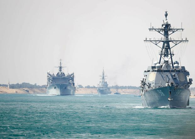 Moving into position: The US Navy Abraham Lincoln Carrier Strike Group deploying to the Persian Gulf. Photo: AP