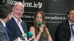 Debate: Mark Durkan and Clare Daly at the Floating Voter Podcast. Photo: Kyran O'Brien