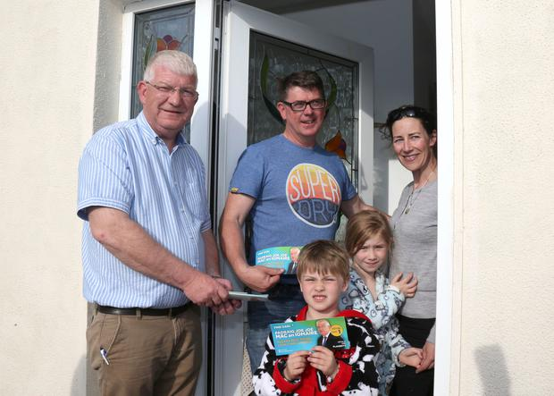 On the trail: Fine Gael candidate Pádraig Joe Joe Mac an Iomaire at the door step of Lorcan Brophy and Bairbre de Barra in Spiddal, Co Galway. Photo: Hany Marzouk