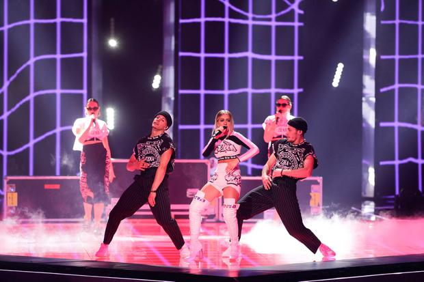Zena of Belarus performs during the 2019 Eurovision Song Contest semi-final in Tel Aviv, Israel, Tuesday, May 14, 2019. (AP Photo/Sebastian Scheiner)