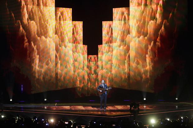 Victor Crone of Estonia performs during the 2019 Eurovision Song Contest semi-final in Tel Aviv, Israel, Tuesday, May 14, 2019. (AP Photo/Sebastian Scheiner)