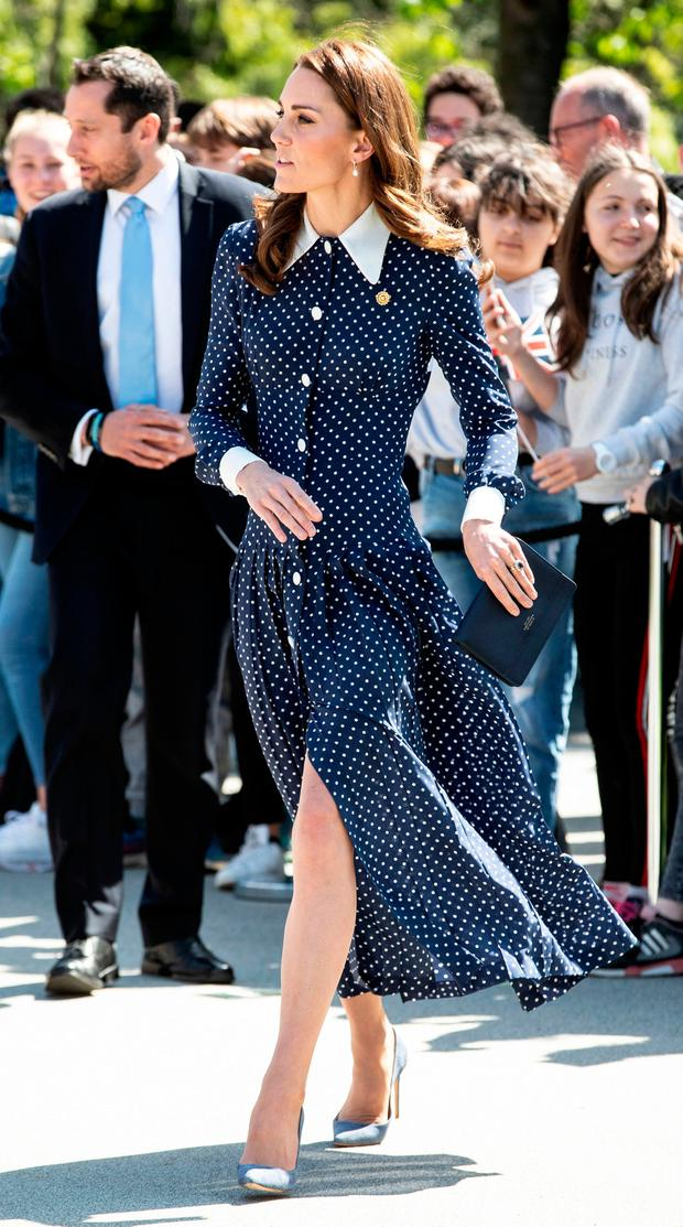Britain's Catherine, Duchess of Cambridge, reacts as she is greeted by wellwishers as she arrives to visit Bletchley Park in Bletchley, north west of London, on May 14, 2019