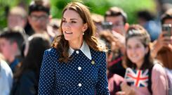 The Duchess of Cambridge arrives for a visit to Bletchley Park to view a special D-Day exhibition in the newly restored Teleprinter Building