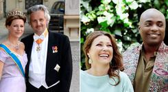 Princess Martha Louise with her ex-husband Ari Mikael Behn, left, and with new boyfriend Shaman Durek, right