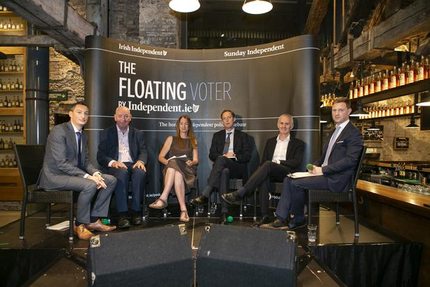 Kevin Doyle, Mark Durkan, Clare Daly, Barry Andrews, Ciaran Cuffe and Philip Ryan during the special European Election Floating Voter Show from Jameson Distillery Bow St