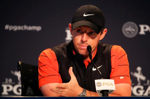 Rory McIlroy of Northern Ireland speaks to the media during a press conference prior to the 2019 PGA Championship at the Bethpage Black course. (Photo by Christian Petersen/Getty Images)