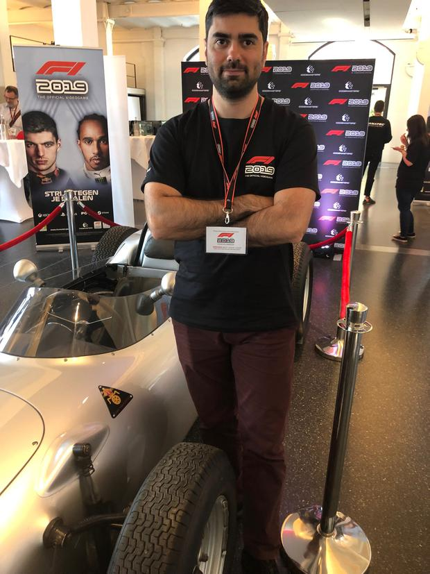 F1 2019 handling lead David Greco at the preview event in Hamburg. Photo: Ronan Price
