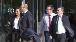 Pictured leaving their meeting with The FAI today were FIFA's Sarah Solemale and Bjorn Vassallo, Director, Membership Association's Europe FIFA with Cathal Dervan, FAI Public Relations and Communications and Donal Conway, FAI President at Abbottstown. PIC COLIN O'RIORDAN