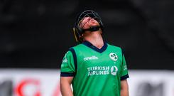 Paul Stirling of Ireland reacts during the One Day International match between Ireland and Bangladesh at Clontarf Cricket Club, Clontarf in Dublin. Photo by Piaras Ó Mídheach/Sportsfile