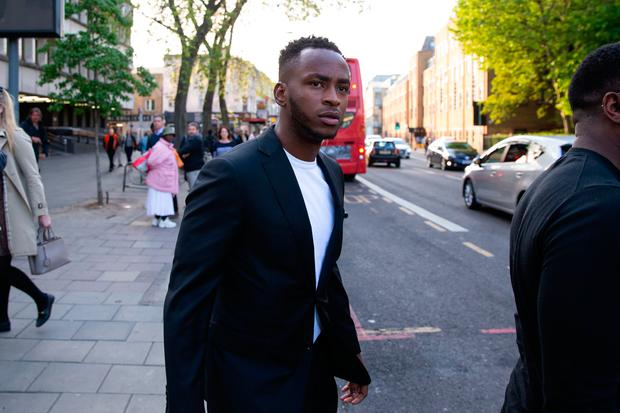Stoke City footballer Sadio Berahino exits Highbury Magistrates Courts after being banned from the roads for 30 months and fined £75,000 for drink-driving after he was robbed on a night out. Aaron Chown/PA Wire