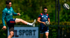 Best foot forward: Joey Carbery will face his former province Leinster this weekend having made a big impact with Munster. Photo: Sportsfile