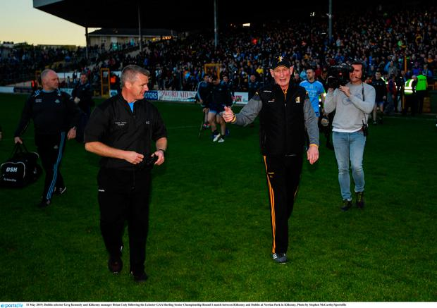 Dublin selector Greg Kennedy and Kilkenny manager Brian Cody following the Leinster GAA Hurling Senior Championship Round 1 match between Kilkenny and Dublin at Nowlan Park in Kilkenny. Photo by Stephen McCarthy/Sportsfile