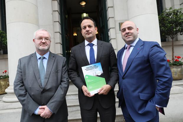 Paul Ryan, Department of Finance, Taoiseach Leo Varadkar and Sustainable Nation CEO Stephen Nolan pictured at the RCPI in Dublin after the launch by the World Bank of a EUR €1.5 billion Sustainable Development Bind, listed on the Euronext Dublin Irish Stock Exchange. Photo: Julian Behal