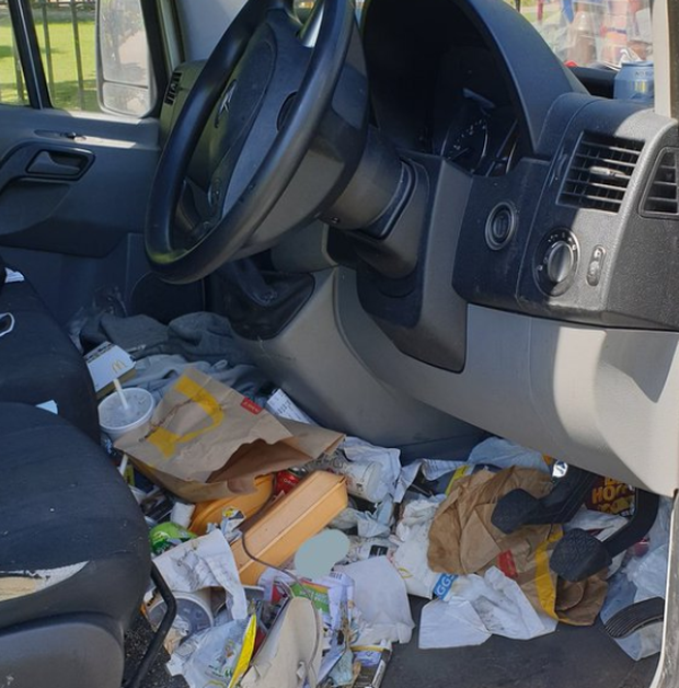 Police said that the rubbish was a danger to the motorist Photo: TVP Roads Police /Twitter
