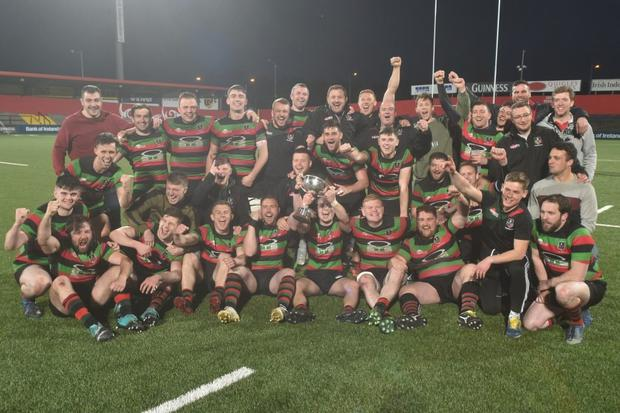 Highfield celebrate victory over Cork Con in the Bank of Ireland Munster Junior Cup final