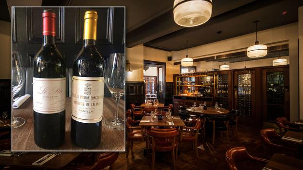 The customer ordered a £260 (€300) bottle of the Chateau Pichon Longueville Comtesse de Lalande 2001 (inset with the other bottle).