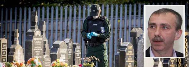 The scene at Milltown Cemetery in Belfast, and Martin McElkerney (inset)