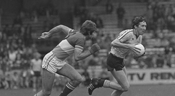 Anton O'Toole, Dublin in action against Liam O'Connor, Offaly in 1983